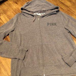 """Victoria Secret """"love pink"""" Grey Hoodie - LG"""